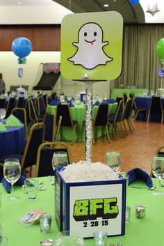 Snapchat Themed Centerpiece Snapchat Themed Centerpiece for Technology/App Themed Bar Mitzvah