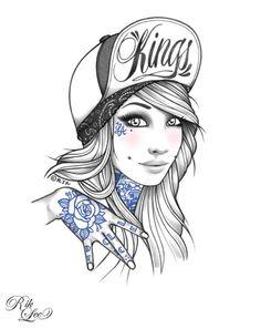 dibujos de mujeres pin up para tatuajes - Buscar con Google