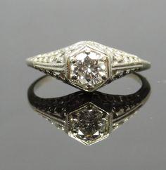 Ornate 14K White Gold Art Deco Diamond Filigree by MSJewelers, $1645.00