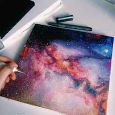 Painting the Milky Way. #painting #space #galaxy #drawing #copic #artist #creative #stars #star #acrylic #mine. From coconut-desu.tumblr.com