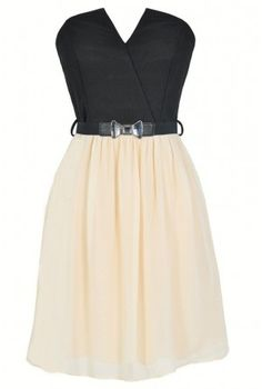 Tulip Garden Strapless Belted Dress in Black/Ivory