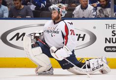 TORONTO, ON - NOVEMBER 26: Goalie Braden Holtby #70 of the Washington Capitals stretches during a break in play against the Toronto Maple Leafs during the first period at the Air Canada Centre on November 26, 2016 in Toronto, Ontario, Canada. (Photo by Graig Abel/NHLI via Getty Images)