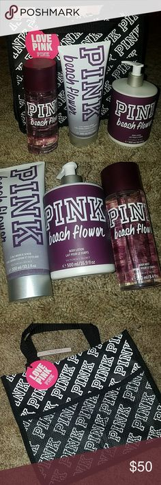 """FREE SOCKS! VS PINK """"BEACH FLOWER"""" BUNDLE NWT. SHOWER CADDY, 2in1 Body Scrub 10.1 oz, Body Lotion 16.9 oz and Body Mist 8.4 oz (all large size).  Notes of fragrance in picture PINK Victoria's Secret Accessories"""
