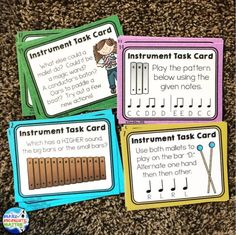 I love using instrument exploration task cards in centers! Here are a few examples.