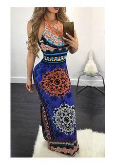 Dark Blue Tribal Floral Print Backless Halter Neck Slit Vintage Maxi Dress