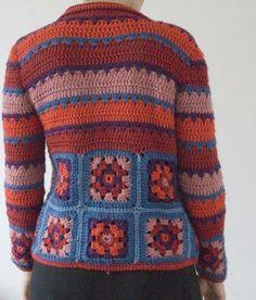 Vintage Granny Square Sweater Blue K - Qoster Cardigan Au Crochet, Gilet Crochet, Crochet Coat, Crochet Jacket, Crochet Cardigan, Crochet Clothes, Crochet Sweaters, Moda Crochet, Pull Crochet