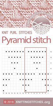 Most up-to-date Free knitting stitches chart Tips KnittingStitches — Pyramid stitch Chart Knitting Charts, Easy Knitting, Baby Knitting Patterns, Loom Knitting, Stitch Patterns, Crochet Patterns, Knitting Machine, Lace Patterns, Knit Purl Stitches
