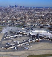 An aerial shot of Chicago's Midway Airport where they just opened a $55 million rental car facility.