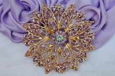 Vintage style Sparkling Amethyst Lavender Brooch Pin Rhinestones Crystal Gold plated Embellishment  Broach DIY Wedding Bridal Bouquet Sash on Etsy, $8.50