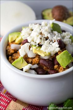 Turkey Chili with a Mexican twist- perfect for dipping, tacos or over rice! | espressomykitchen.com