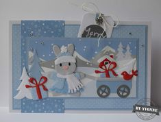 Kaarten & zo: 52 weeks to Christmas. Christmas Cards To Make, Christmas Art, Xmas, Baby Bunnies, Bunny, Marianne Design Cards, Baby Cards, Cute Cards, Paper Piecing