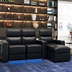 Top Grain Leather Home Theater Sofa (Row of 3)