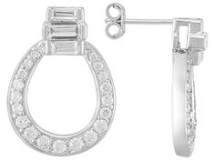 "Remy Rotenier For Bella Luce (R) 2.83ctw Rhodium Plated Silver ""deco Door Knocker"" Earrings"