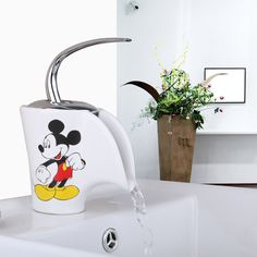 basin faucet torneira mickey mouse ceramic waterfall deck mounted single handle chrome brass faucet
