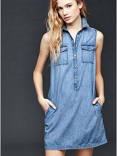 1969 denim sleeveless shirtdress | Gap