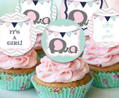 pink mint baby shower cupcake toppers, elephant baby shower theme cupcakes