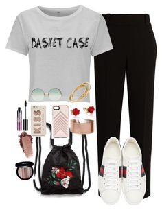 """""""Outfit made with my eyes closed"""" by isabellefashion23 ❤ liked on Polyvore featuring The Row, Gucci, Monki, Rebecca Minkoff, Linda Farrow, Kate Spade, Disney, Cartier, Edward Bess and Charlotte Russe"""