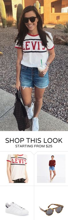 #fall #outfits women's white and red Levi's crew-neck t-shirt, blue denim shorts and pair of white low-top sneakers. Click To Shop This Look.