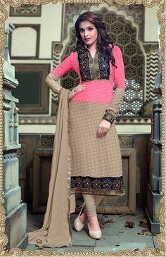 Georgette Zari Work Pink Semi Stitched Long Anarkali Suit - K1010