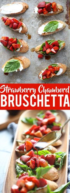 These Strawberry Chambord Whipped Cheese Toasts are a gorgeous Spring appetizer, perfect for a brunch, bridal shower or drinks on the patio!