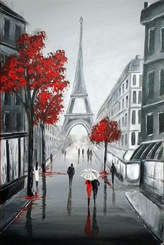 """artfinder: """" Eiffel Streets by Aisha Haider Acrylic painting """" Inspired to paint by a recent trip to paris. The focal point of this artwork is the iconic Eiffel Tower … """" """" Art Parisien, Simple Acrylic Paintings, Paris Art, Beginner Painting, Painting Acrylic Beginners, Painting Inspiration, Watercolor Art, Cool Art, Art Drawings"""