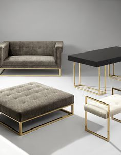 The Jonathan Adler Caine Collection styles Traditional English meets Modern Minimalism. The tailored profile while the polished brass base screams luxury. Perfect for the parlor, it hits all the right notes—formal and fresh, tailored and comfy, elegant and rock 'n' roll.