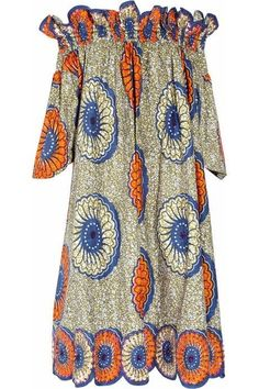 Shop for Easton Pearson Sea Urchin printed cotton dress at ShopStyle. Long African Dresses, Latest African Fashion Dresses, African Print Dresses, African Print Fashion, Traditional African Clothing, Cotton Dresses, Net Dresses, Net Gowns, African Attire