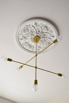 Cadence - Nr. C5 moderner massivem Messing Anhänger Kronleuchter Beleuchtung hängen. . Sputnik Retro minimalistischen Stil.