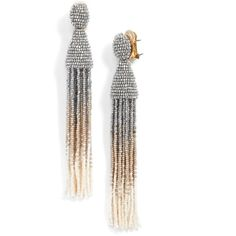 Go all out in these shoulder-dusting earrings swishing with vibrant, intricately beaded tassels. Padded clips keep the ebullient pair firmly yet comfortably f…