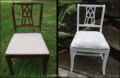 LiveLoveDIY: How to Reupholster a Chair (she used a table cloth for the fabric...never would have thought to do that but it's way cheaper than buying fabric by the yard.)
