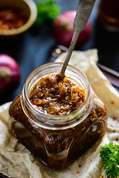Soft, sticky and yet rich Onion Marmalade makes for a wonderfully delicious topping for pizzas, bruschettas, sandwiches, burgers and basically any dish that requires a good base and great flavor.