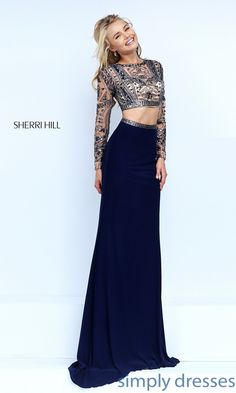 Shop two piece Sherri Hill long sleeve navy blue dresses at Simply Dresses. Two piece crop top formal dresses with long sleeves and beaded tops.