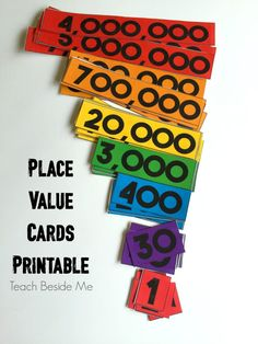 place value cards printable set Place Value Cards, Math Place Value, Fourth Grade Math, Second Grade Math, Third Grade, Grade 2, Teaching Place Values, Teaching Math, Math Resources