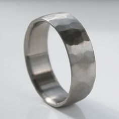 Men's Rustic Textured Wide Comfort Fit Palladium Wedding Band - 1.5mm thick - Recycled, Eco-friendly, Ethical Wedding Ring