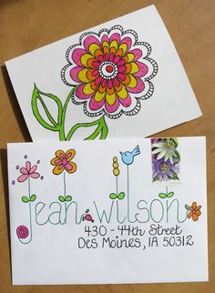 Great lettering on snail mail envelope Mail Art Envelopes, Addressing Envelopes, Fancy Envelopes, Envelope Art, Envelope Design, Envelope Lettering, Letter Writing, Letter Art, Creative Lettering