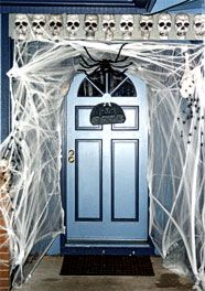 i should put fake spider webs all through out the spook alley im making halloween door decorationshalloween