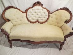 Mid-1800s Hard Carved Walnut Parlor Settee (not restored)