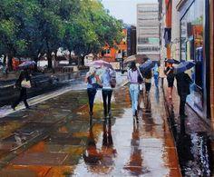 "Daily Paintworks - ""Sloane Square, Summer Showers"" - Original Fine Art for Sale - © Adebanji Alade"