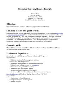 secretary resume examples httpwwwjobresumewebsitesecretary - Experience For Resume