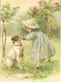 Victorian 1897 Ernest Nister print girl and dog with reading glasses Vintage Children's Books, Vintage Ephemera, Vintage Cards, Vintage Postcards, Vintage Pictures, Vintage Images, Photo Vintage, Illustration Art, Illustrations