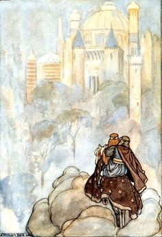 """Oisín and Niamh travelling to Tír na nÓg (""""Land of the Young"""" – an otherworld inhabited by the Irish fairy people the Tuatha Dé Dannan), illustration by Stephen Reid in T. Rolleston's The High Deeds of Finn Tarot, Irish Mythology, Into The West, Fine Art Prints, Canvas Prints, All Nature, Faeries, Art Reproductions, Gifts In A Mug"""