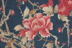 Wonderful, rare Japonisme pattern, antique French printed cotton fabric ~ rare design ~ c1900 ~ www.textiletrunk.com