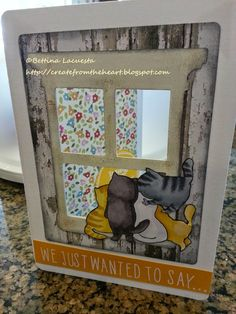 """Create from the Heart: Thank You Window Card using Art Impressions """"Purrr-thday"""" stamp set"""