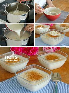 Sütlaç Tarifi (videolu) Turkish Sweets, Food And Drink, Pudding, Desserts, Tailgate Desserts, Deserts, Custard Pudding, Puddings, Postres