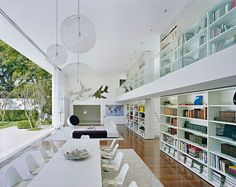 check out the catwalk with bookcases.  photographer James Silverman