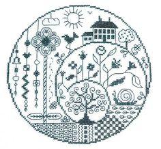 Spirale - cross stitch pattern by Jardin Prive Motifs Blackwork, Blackwork Embroidery, Embroidery Patterns, Hand Embroidery, Cross Stitch House, Cross Stitch Tree, Cross Stitch Flowers, Cross Stitching, Cross Stitch Patterns