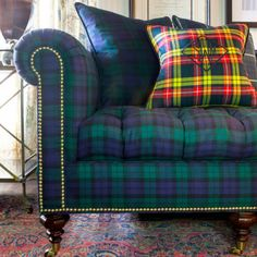 Buy Inverness Sofa in Blackwatch Tartan by Scot Meacham Wood Design - Made-to-Order designer Furniture from Dering Hall's collection of Traditional Sofas & Sectionals Plaid Sofa, Tartan Plaid, Scottish Plaid, Scottish Tartans, Scottish Decor, Tartan Decor, Inverness, House In The Woods, Wood Design