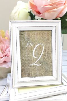 Rustic Shabby Chic Wedding Frames with Burlap Table Numbers by ThePaperWalrus
