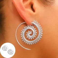 A Pair of Charming Silver Spiral Earrings For Women Feature: * New design and high quanlity * Material: Silver * Width Size: 30mm