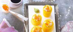 Zutaten: 50 g Sushireis; 4 dicke Gelbe Rüben; 60 ml Mirin (Reisessig); 1 walnussgroßes Stück Ingwer, in Scheiben; 1 EL Wasabipaste; 2 Stk. Sternanis; 100 ml Orangensaft; 2 EL Forellenkaviar; 150 g Saiblingsfilet ohne Haut, entgrätet; Saft einer Limette; 3 EL Olivenöl; Salz, Pfeffer! Mehr dazu auf der ADEG Website! Eggs, Breakfast, Food, Orange Juice, Caviar, Brown Trout, Morning Coffee, Essen, Egg